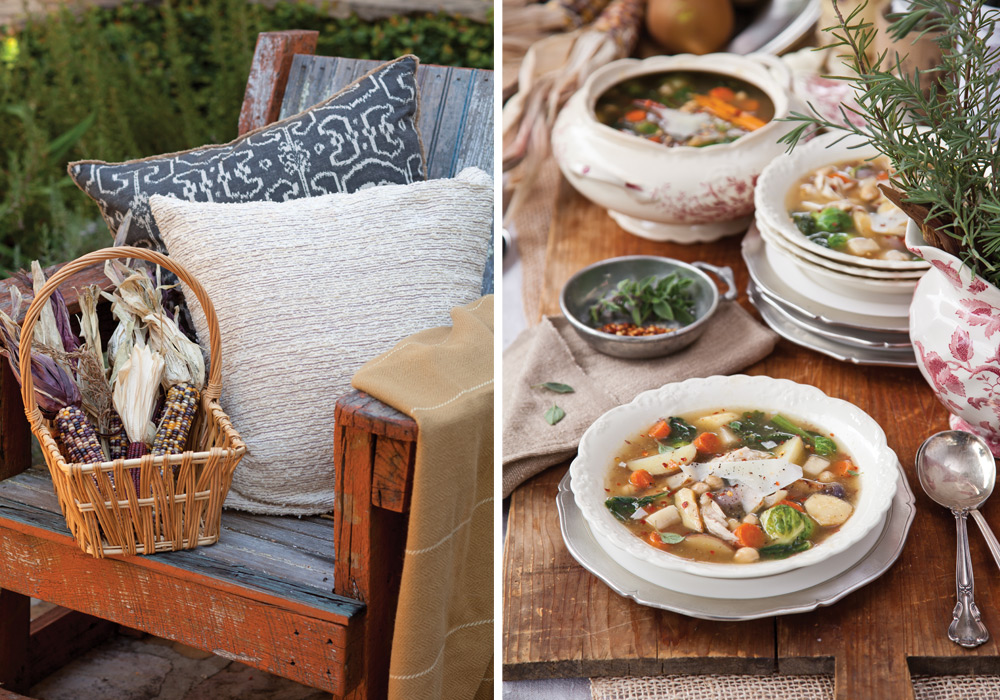 Outdoor fireplace and soup Victoria magazine