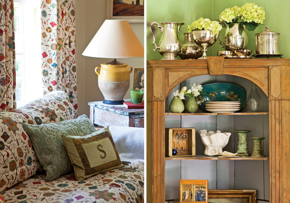 Accents throughout the Shaws' interiors include prized heirlooms and items that convey subtle references to Margot's affinity for flowers.