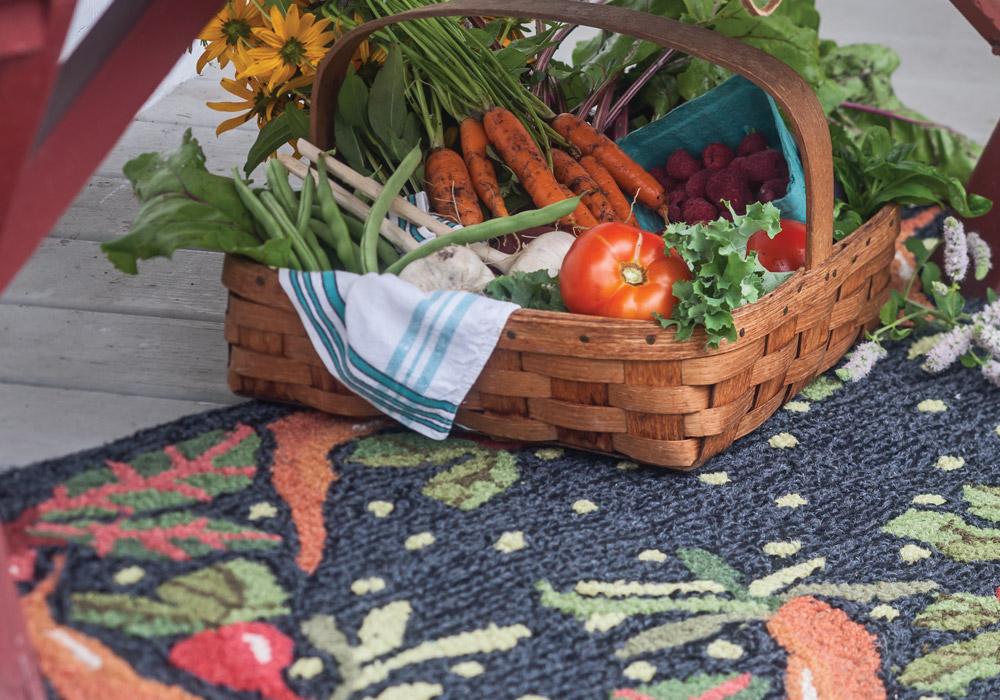Vegetables inspired Judith Reilly's whimsical runner.