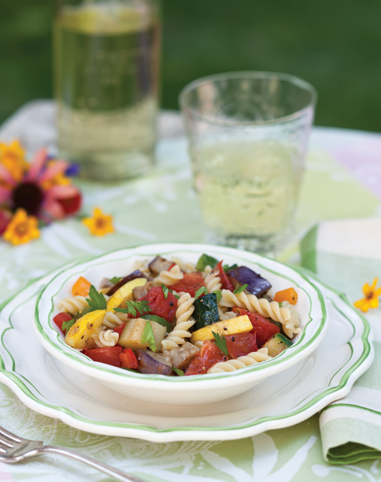 Celebrate the garden harvest in a tangled toss of color bursting with earthy goodness. Entwined in a mix of savory, tender pastas laced with fragrant herbs and plump vegetables, these tasty meals capture the ripe extravagance of the season.