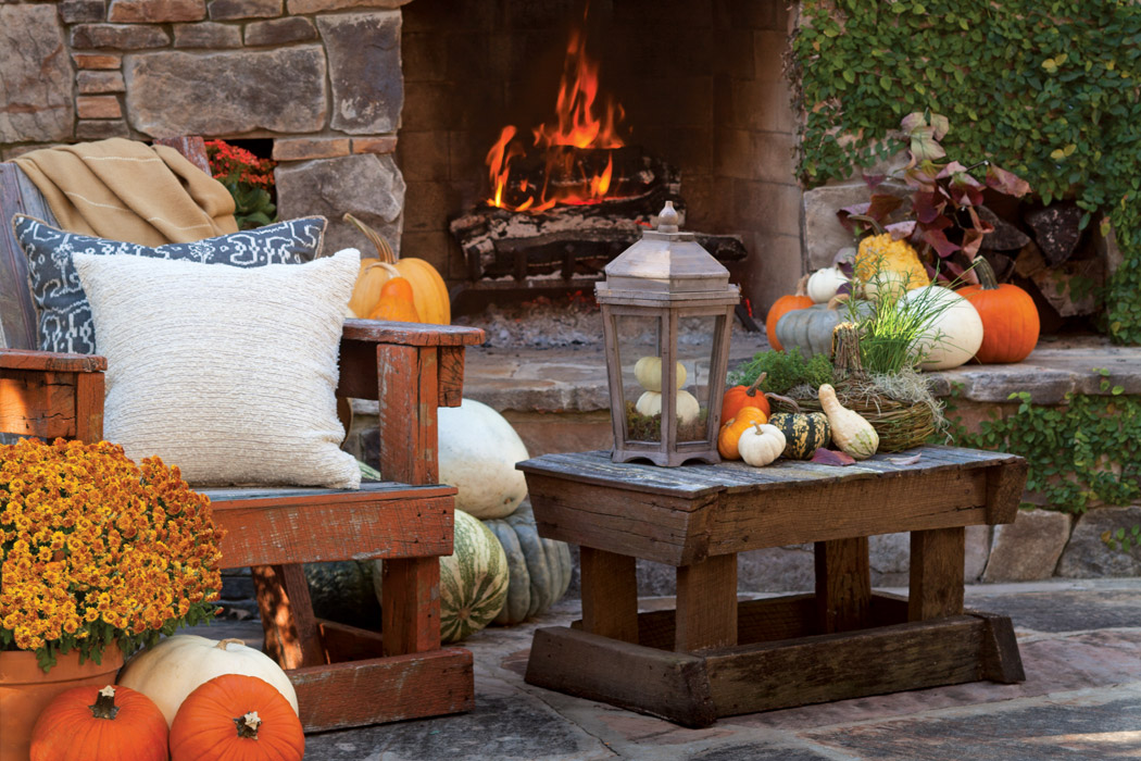 Pretty Pumpkins Amidst A Roaring Fire From Victoria Magazine