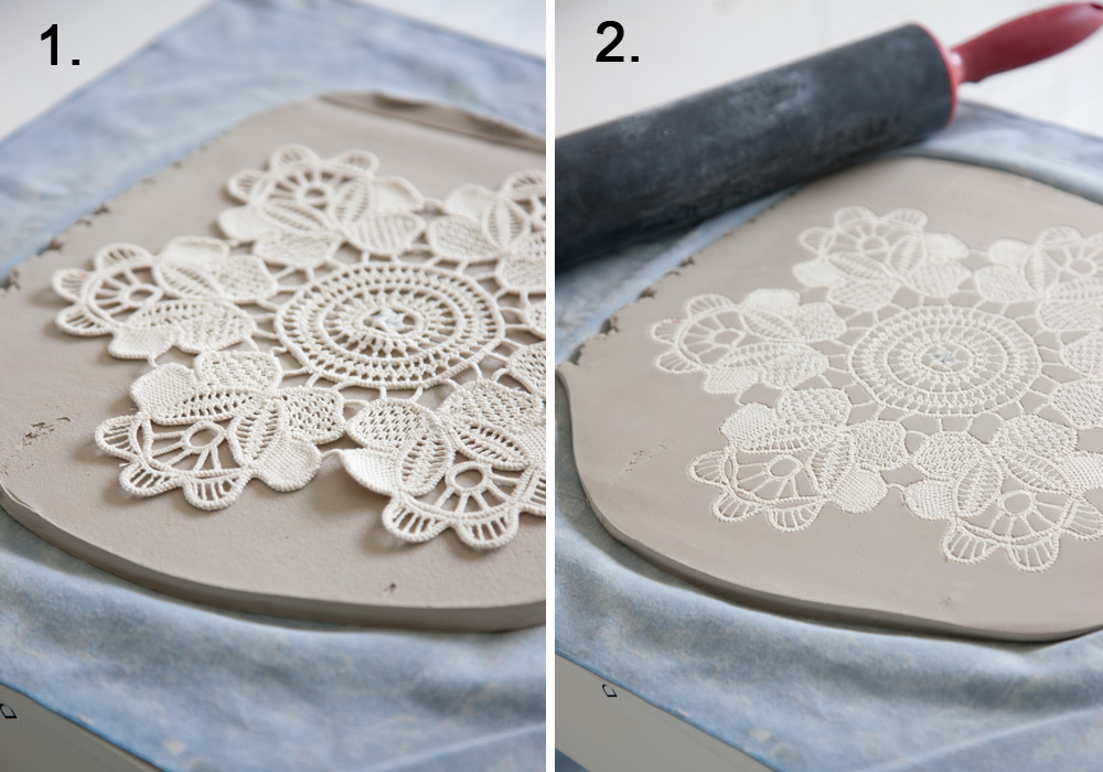 Make your own lace pottery for How to make ceramic painting
