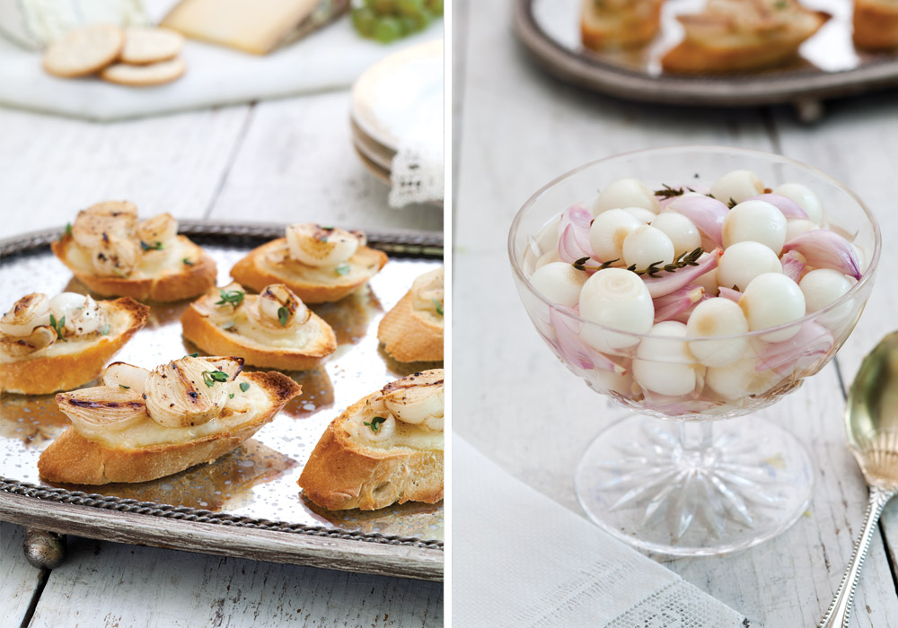 above left french onion crostini is baked with fontina cheese and a ...