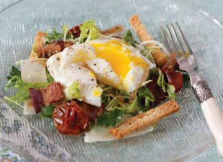 Poached Eggs over Frisée Salad with Roasted Tomatoes