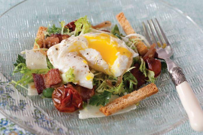 Poached Eggs over Frisée Salad - Victoria Magazine