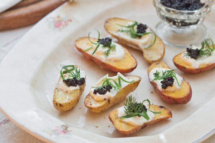 Parmesan-Vinaigrette Potatoes with Crème Fraîche and Caviar