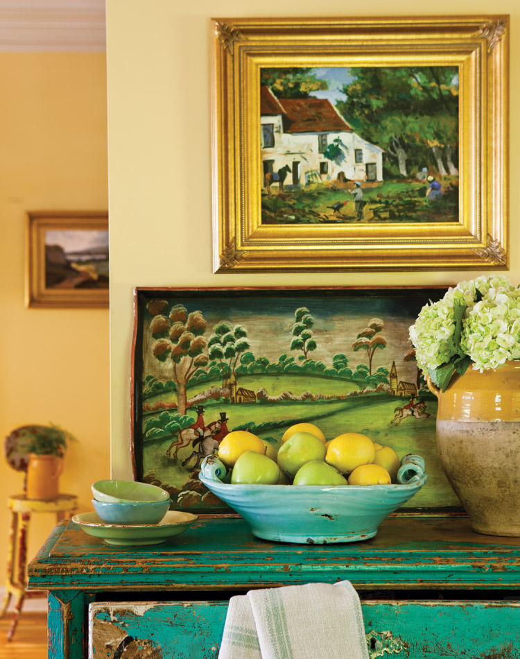 Margot Shaw's kitchen is bathed in a buttery-yellow hue.