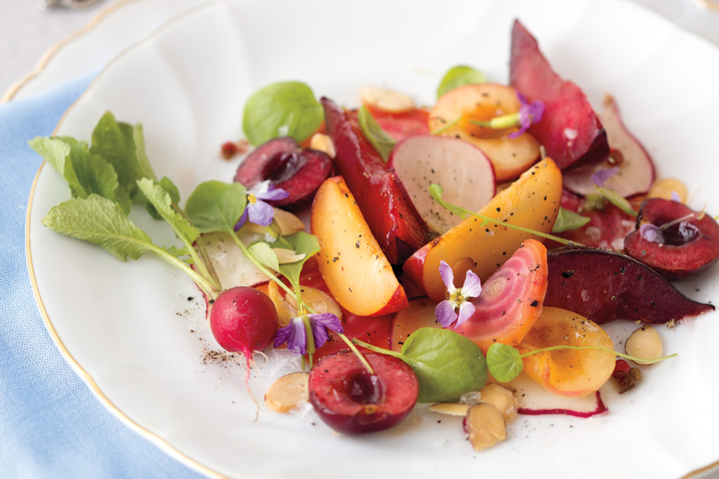 Contrasting with the sweetness of this assemblage, thinly sliced radishes, crisp tendrils of watercress, and a glaze of pink-peppercorn- citrus syrup add a depth of flavor to Cherries, Plums, Nectarines, and Beets.