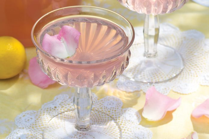 The tender blush of petals lends a graceful femininity to crystal goblets of Rose Lemonade.