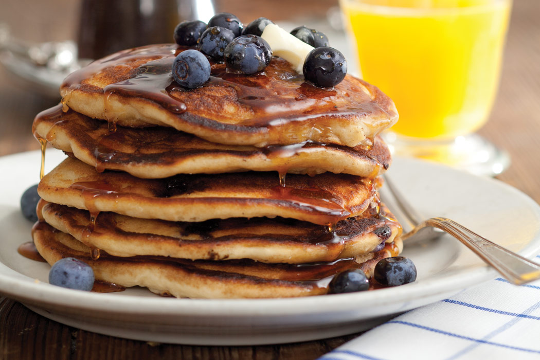 Blueberry Buttermilk Pancakes with Cardamom-Vanilla Syrup
