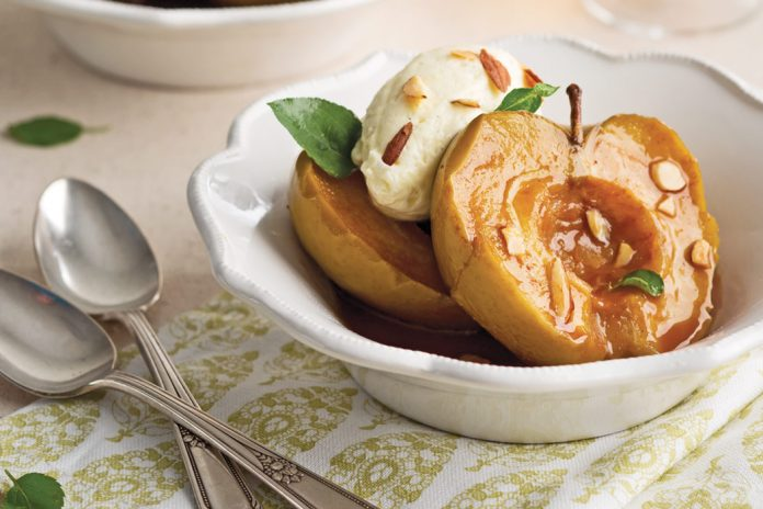 Caramel-Braised Apples with Apple-Brandy Sabayon