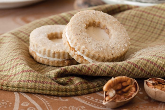 Toasted Pecan Shortbread Cookies with Buttercream Filling