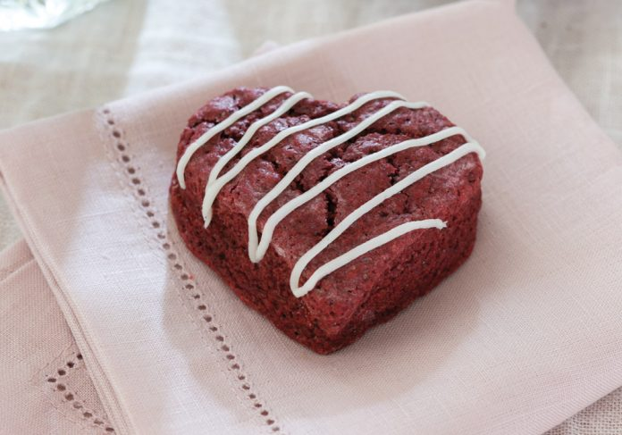 Red Velvet Scones with Cream Cheese Glaze