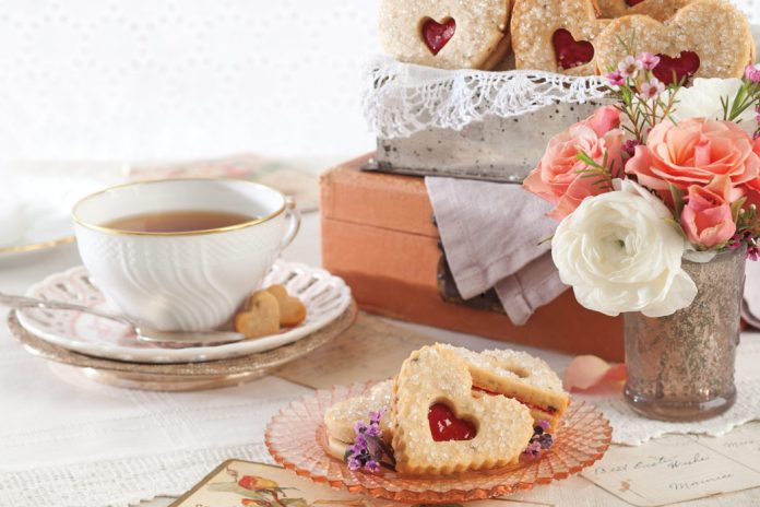 Honey-Lavender Shortbread with Strawberry Preserves