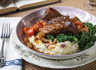 with Buttermilk Mashed Potatoes and Lemon-Garlic Kale