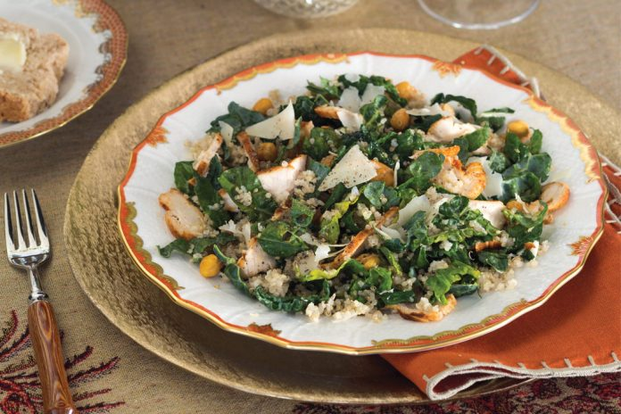 Kale and Quinoa Caesar Salad with Roasted Chicken and Crispy Chickpeas