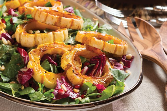 Spiced Roasted Squash–and–Fall Greens Salad