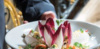 Named for the Russian chef who created the dish in the 1860s, the Olivier Salad features a flavorful mix of diced meats and vegetables in leaves of endive and butter lettuce.