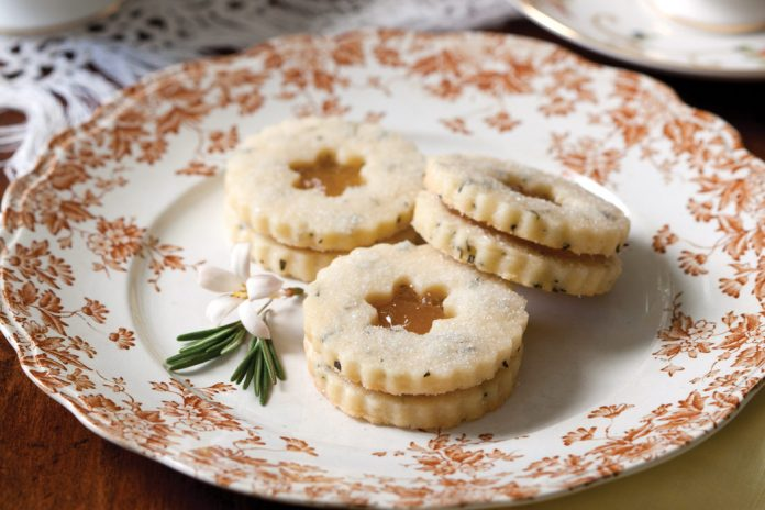 Rosemary Shortbread with Pear Preserves