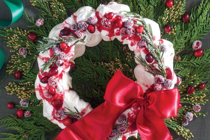Sugared Cranberry and Rosemary Pavlova